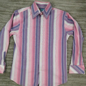 Roar Mens 3XL Striped Multicolor Button Front